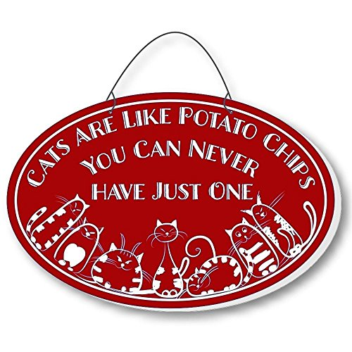 Cool Cats Cat-Gang Oval Laser-Etched 3-In-1 Plaques Like Potato Chips Red front-438055