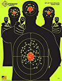 """HUGE! 10 Pack - 18""""x 24"""" Triple Silhouette Splatterburst Target - Instantly See Your Shots Burst Bright Florescent Yellow Upon Impact!"""