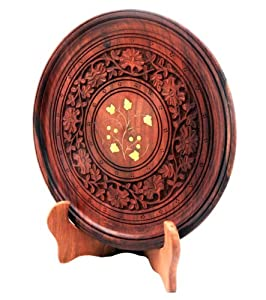 Decorative Wooden Plate Comes with Plate Stand Holder Hand Carved From Rosewood & Brass Inlay a Unique Home Decor Accent Birthday or Housewarming Gift Ideas