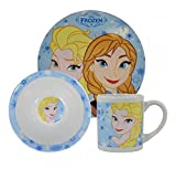 Disney Frozen 3 Piece Child's Ceramic Dinnerware Breakfast Set Anna Elsa