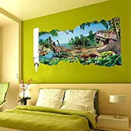 EmiracleZe(TM) Jurassic Park Dinosaur River Forest Tree Removable Mural Wall Stickers Wall Decal for Children Home Decor(A)