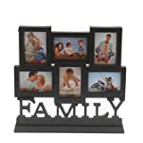 Bazaar Pirates Table Collage Family Photo Frame Timeline 6 Frames In 1, Cum Table Decor And Art (Black)
