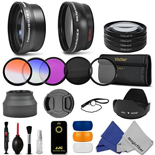52Mm Essential Accessory Kit For Nikon Dslr (D3300 D3200 D5300 D5200 D5100 D5000 D3000 D90 D80) - Includes: 0.43X Wide Angle & 2.2X Telephoto High Definition Lenses + Remote Control + Vivitar Filter Kit (Uv, Cpl, Fld) + Vivitar Macro Close-Up Set + Collap