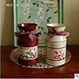 Home Furnishing American Country Tin Vase Flowers Flowers Bucket Cafe Shop Living Room Decorative Flower Flower... - B01LYN9RME