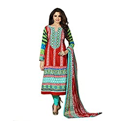 Shenoa Women's Cotton Unstitched Dress Material (2101B_Free Size_Red)