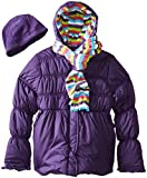 Pink Platinum Big Girls  Solid Puffer Coat with Hat and Striped Scarf