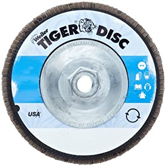 Weiler Tiger Abrasive Flap Disc, Type 29, Threaded Hole, Phenolic Backing, Zirconia Alumina