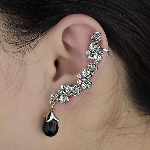 One Piece Drop Crystal Silver Plated Stud Clip earrings Beads Ear Rhinestone CZ S444K10