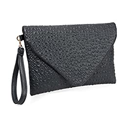 BMC Fashion Forward Punk Black Faux Leather Envelope Style Studded Square Circle Fashion Clutch