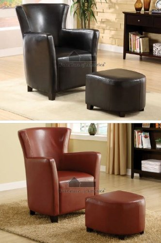 Pelham Puppy Red Single seat Bi-cast Leather Chair and Ottoman Set