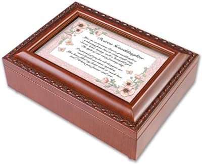 Dearest Granddaughter Woodgrain Music Box Plays Light Up My Life from Cottage Garden