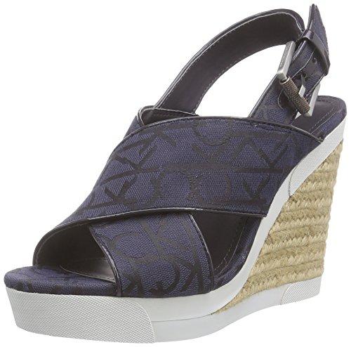 Calvin Klein JeansELAINE CK LOGO JACQUARD/PATENT - Sandali Donna , Blu (Blau (BBM)), 38 EU