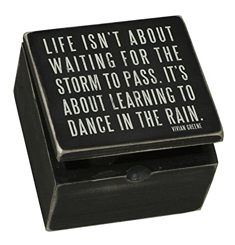 Primitives by Kathy Sign Hinged Box, Dance in The Rain, 4 by 4-Inch