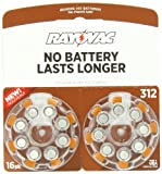 Rayovac L312ZA-16ZM Mercury Free Hearing Aid Batteries - Size 312, 16 Count Package