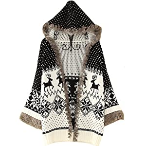 Women Girls Deer Jubilant Black Hooded Christmas Cardigan