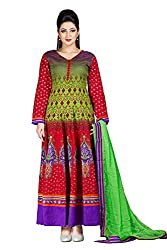 Jinaam Women's Cotton Unstitched Dress Material (jess 33_Green Red_Free Size)