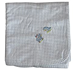 Kissy Kissy Baby-Boys Infant Courageous Knight Print Receiving Blanket-White And Blue-One Size