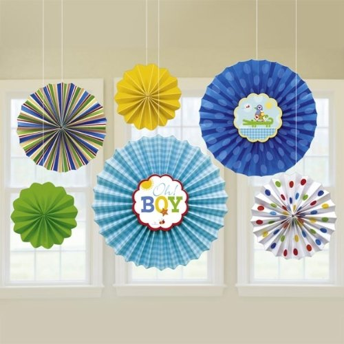 Baby Shower 'Ahoy Baby' Paper Fan Decorations (6pc)