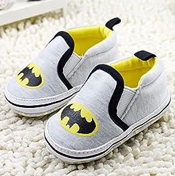 NEW Cute Cartoon Baby Boys Kids Newborn Baby Shoes Infant Toddler Sports Soft Soled Bottom Bat Man Anti-slip Shoes (1 US Size, Gray)