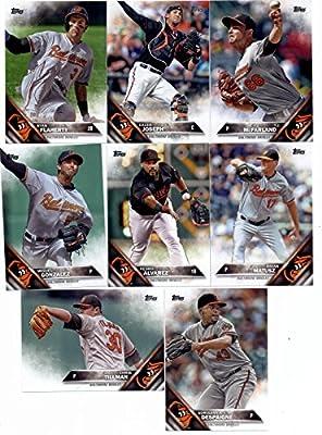 2016 Topps Series 2 Baseball Baltimore Orioles Team Set of 8 Cards: Odrisamer Despaigne(#356), Pedro Alvarez(#367), Brian Matusz(#411), Miguel Gonzalez(#422), Chris Tillman(#477), Caleb Joseph(#513), Ryan Flaherty(#515), T.J. McFarland(#526) in Protective