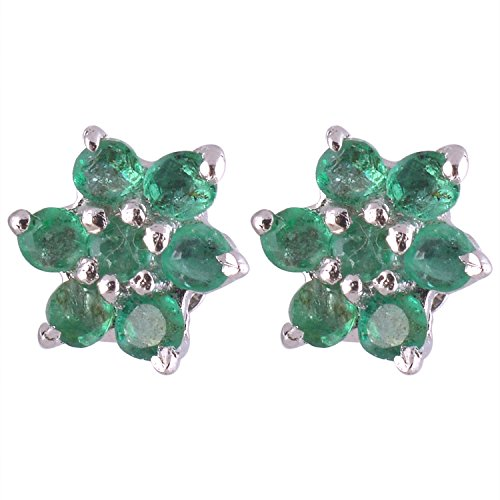 Sterling 925 Sterling Silver Faceted Genuine Emerald Stud