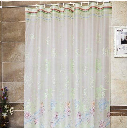 PEVA Shower Curtain Mildew Green Waterproof Metal Spring Eye Hookless Fabric YangFan