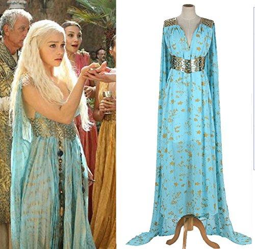 Vivian Halloween A Song of Ice and Fire Game of Thrones Daenerys Targaryen Mother vestito fatto Cosplay Costume (Può essere personalizzato),taglia XL (altezza 170-175 cm,70-75 kg)