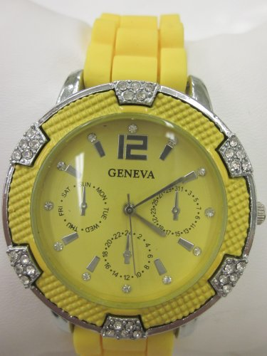 Women'S Geneva Watch Bright Yellow W/ Silver Faux Chronograph Silicone Rubber Jelly Link Look Band With Cz Crystal Rhinestone Clusters Around Face Bling Bezel. Yellow Dial. Gift Box Included For Easy Gift Giving.