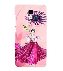 PrintVisa Cute Flower Girl Butterfly Design 3D Hard Polycarbonate Designer Back Case Cover for Xiaomi Redmi Mi4