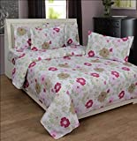 BeautifulHOMES Glory Cotton Double Bedsheet With 2 Pillow Cover - Silver and Pink