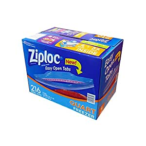 Ziploc Double Zipper Heavy Duty Quart Freezer Bags (216 Bags)