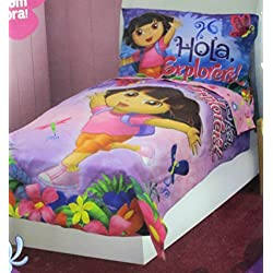 Nickelodeon Dora the Explorer - Hola Explorer 4 Pc Toddler Bedding