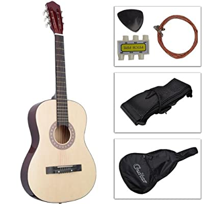 Super buy 38 inch Acoustic Guitar With Guitar Case, Strap, Tuner and Pick for New Beginners