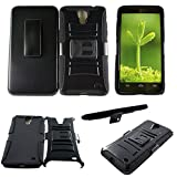 Mstechcorp **Dual Layer** [Kickstand] Samsung Galaxy Mega 2nd Gen Case SM-G750F Prime Series [Holster] + [Belt Clip] Cover with Kickstand and Locking Belt Swivel Clip Case - Includes [Car Charger + 2 Data Cable] + [Touch Screen Stylus] + [Hands Free Earphone With Carrying Case] (HOLSTER BLACK)