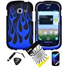 4 items Combo: ITUFFY LCD Screen Protector Film + Mini Stylus Pen + Case Opener + Black Blue Flame Design Rubberized Snap on Hard Shell Cover Faceplate Skin Phone Case for Samsung Galaxy Centura S738C / Samsung Galaxy Discover S730G (Straight Talk / Net10/ TracFone)