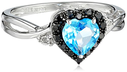 10k White Gold Heart Shaped Blue Topaz with Round Black and White Diamond Ring, Size 6 Amazon Curated Collection B002QB1RSK