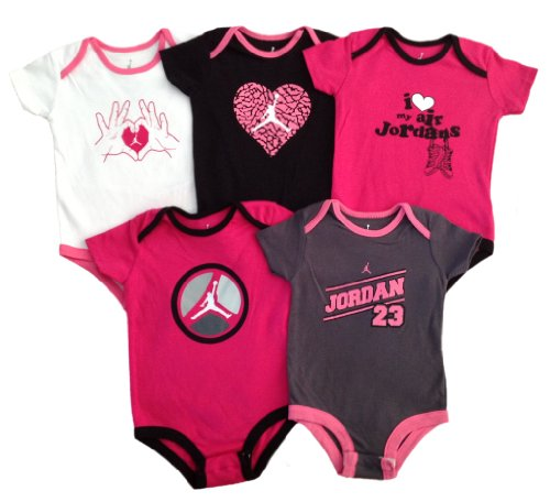 Nike Jordan Baby Lap Shoulder Bodysuit 5 PCS with Different Color and