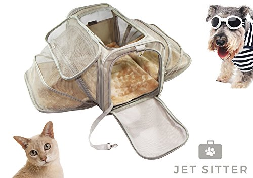 Luxury Expandable Pet Carrier by Jet Sitter, Soft Sided Foldable and Spacious, Improved Design with Seat Belt Buckles, Mesh Stretch Pocket, Velcro Comfort Handle (19″x12″x12″, Khaki)