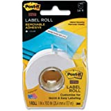 Post-it Tape Roll Removable Labels, White, 1 Inch x 700 Inches (2600-W)