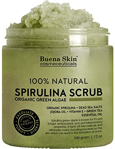 Buena Skin Spirulina Body Scrub, 100% Natural, Fights Acne, Antifungal with Green Algae, Dead Sea Salts and Vitamin E