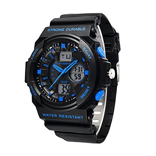 Enjoydeal Fashion Multifunction Digital Waterproof Sports Electronic Round Shaped Watch With Backlight (Black+Blue)