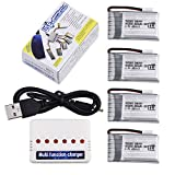 Mudder Upgraded 3.7V 680mAh 25C Lipo Rechargeable Batteries with Integrated Protection Circuit and 6 in 1 X6 Battery Charger for Syma X5C X5C-1 X5SC X5SW Quadcopter