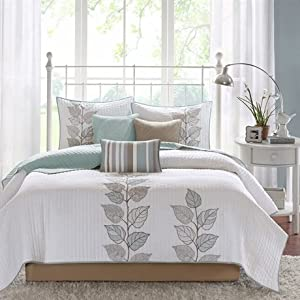 Madison Park Caelie 6 Piece Coverlet Set - Blue - Queen