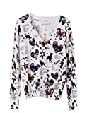 PrettyGuide Women V Neck Dinosaur Butterfly Animal Print Cardigan Cotton Sweater Knitwear