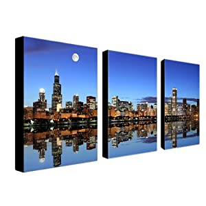 Trademark Fine Art Chicago IL by Master's Art Canvas Wall Art, Three 16x24-Inch