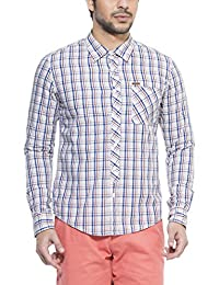 Zovi Men's Cotton Slim Fit Casual Navy White And Maroon Checkered Shirt With Roll-up Sleeves (11569904801)