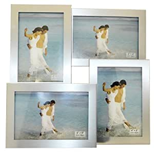 Brushed Aluminium Satin Silver Colour 4 Picture Multi Aperture Photo Frame Gift - Holds 4 photographs No. 56