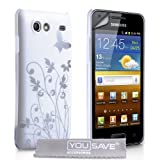 "Yousave Accessories TM Samsung Galaxy S Advance i9070 Wei� / Silber Schmetterling Blumen Muster IMD Harte Schutzh�lle Mit Displayschutz Folie Und Graues Micro Faser Poliertuchvon ""Yousave"""