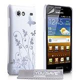 Custodia Samsung Galaxy S Advance i9070 Alla Moda Bianco E Argento Difficile Farfalla Caso Con Schermo Pellicola Protezionedi Yousave Accessories