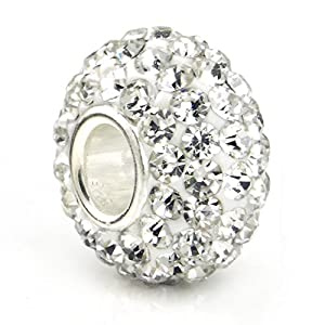 White Crystal Ball Bead Sterling Silver Bracelet Charm